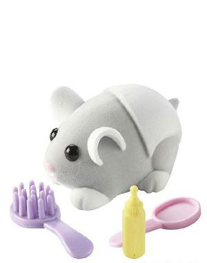 Zhu Zhu Pets Hamster Babies Baby Cakes Light Gray Baby With White Diaper front-113401