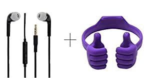 Alba Case Combo Of Premium Mobile Holder Mount Cradle Thumbs Up Ok Stand Purple and 3.5MM Stereo Dynamic Black Earphones / Ear Buds With Mic And Volume Control Button Compatible With Spice Mi-504 Smart Flo Mettle 5X By AlbacaseTM