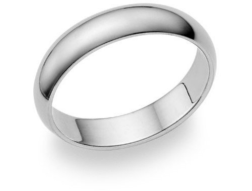 14K White Gold 5mm Plain Wedding Band Ring