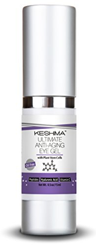 Best Eye Gel for Crow's Feet, Puffiness, Sagging Skin, Dark Circles and Wrinkles - Anti-Aging Cream w/ Plant Stem Cells, Vitamin C, Hyaluronic Acid, Complex Peptides, Aloe and Green Tea - Oil Free by KESHIMA