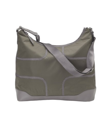 OiOi Taped Hobo Baby Changing Bag Kitten Grey with Black Lining and Accessories