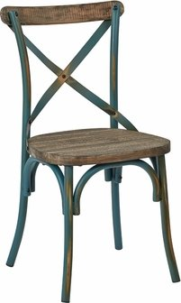 Somerset X-Back Antique Turquoise Metal Chair