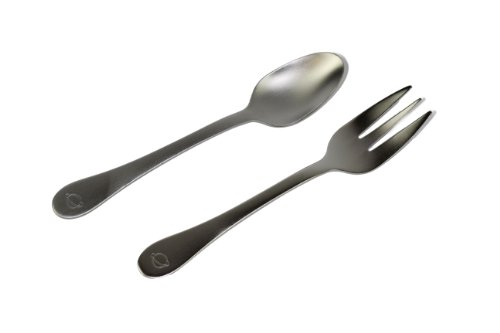 PlanetBox Over the Moon Fork and Spoon Stainless Steel Kids Utensil Set - 1