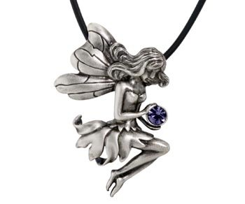 Fairy Seated Pendant Collectible Medallion Necklace