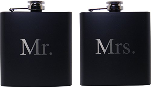 Mr. and Mrs. 6 oz Stainless Steel Black Matte Wedding Flask Set - Great Groommans or Bridal Wedding Gift for Newlyweds, Couples, and Christmas Gifts
