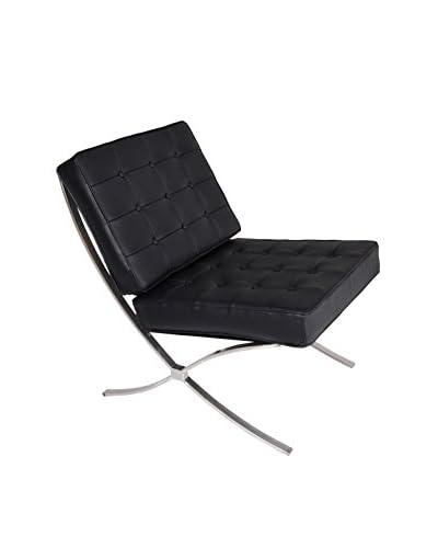 Regency Leather & Chrome Lounge Chair, Black