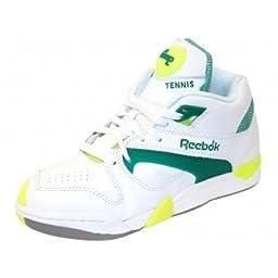 Reebok Court Victory Pump Tennis Shoe,White/Green/Citron,8 M US Men\'s/9.5 M US Women\'s