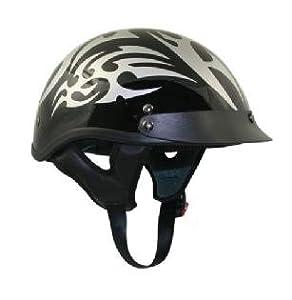Black Outlaw Silver Tribal Half Motorcycle Helmet Sz S