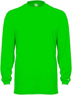 Badger T Shirt 4104 Blank Men'S B-Core Long-Sleeve Performance Tee Lime Xl