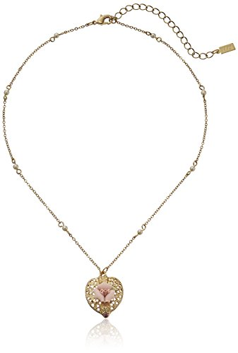 """1928 Jewelry Gold-Tone Pink Crystal Heart And Pink Porcelain Rose Adjustable Pendant Necklace, 16"""" + 3"""" Extender"""