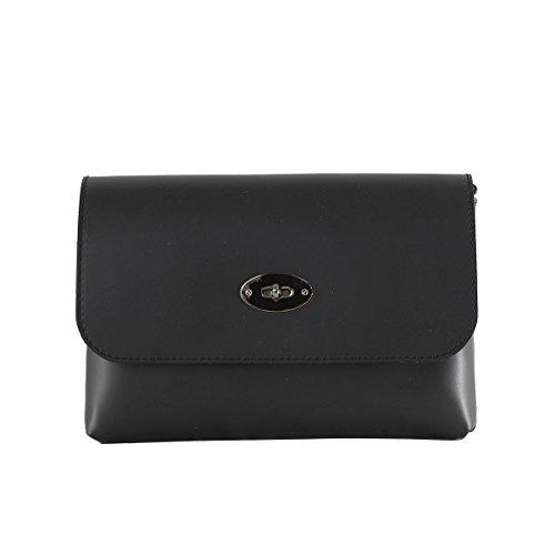 CTM Pochette da Donna, borsetta con tracolla interna, vera pelle made in Italy - 26x18x6 Cm