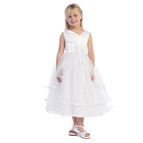 Girls White Taffeta Layered First Communion Pageant Easter Dress 2T-16