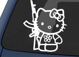 Hello-Kitty-AK-47-Car-Sticker-White
