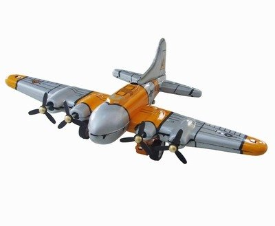 tin toys new collector wind up Metal Boeing B17 flying fortress heavy bomber aircraft yellow