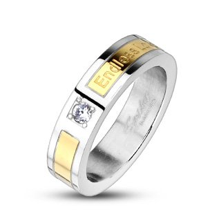 High Polished Stainless Steel Wedding Band Ring For Women with Small Round Cubic Zirconia and Endless Love