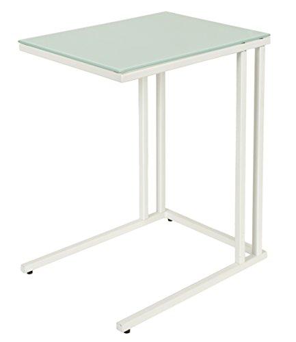 Beistelltisch-Couchtisch-Nachttisch-30-x-40-cm-Wei-mit-weiem-Metallgestell-Glasplatte-ESG-Glas-5-mm-Glastisch