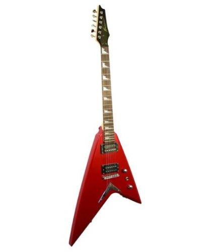 Kona Volt Series Flying V Electric Guitar - Hot Candy Red & Hard Case