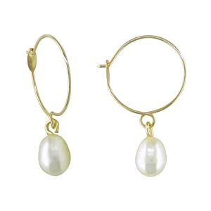 Click to buy Cheap Pearl Earring: 10K Yellow Gold Freshwater Rice White Pearl from Amazon!