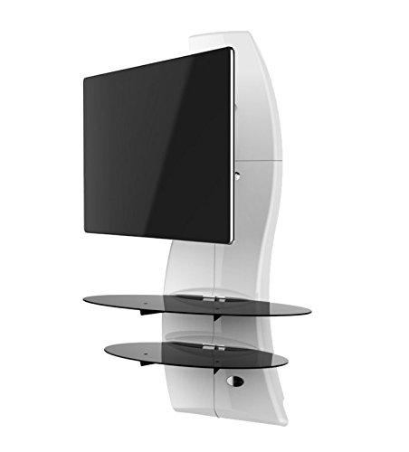 """Meliconi Ghost Design 2000 Rotation Bianco - Supporto Doppio Braccio Orientabile per TV da 32"""" a 63"""" con Mensole in Vetro Temperato"""