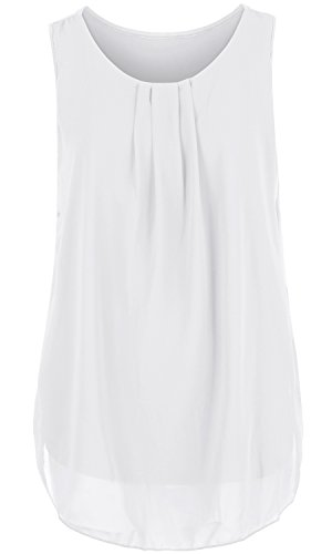 ililily Solid Color Semi-sheer Pleated Front Chiffon Boxy Sleeveless Blouse Top (tshirts-260-6
