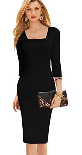 Merope J Womens Square Neck Midi Bodycon Formal Long Sleeves Dress(XXL,Black)