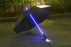 レインボーフラッシュ LED傘 大人用 ブラック 【光る傘】 夜道の安全対策に!暗い雨の日に大活躍!