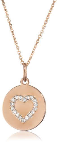 "Kc Designs ""Peace And Love"" 14K Rose Gold And Diamond Heart Disc Pendant Necklace, 16"""