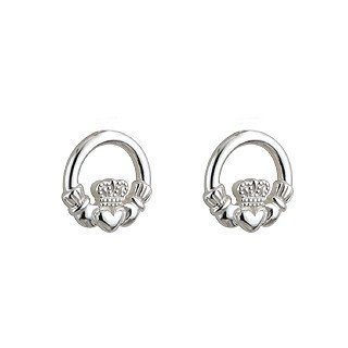 Sterling Silver Celtic Kids Claddagh Stud Earrings-Made in Ireland