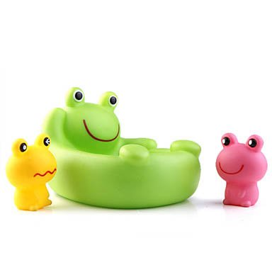 Baby Shower Rubber Frog Yellow Pink Green front-997126