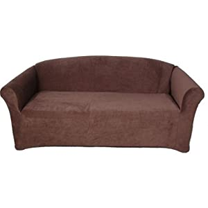 Sofa slipcover stretch corduroy brown for Brown corduroy couch