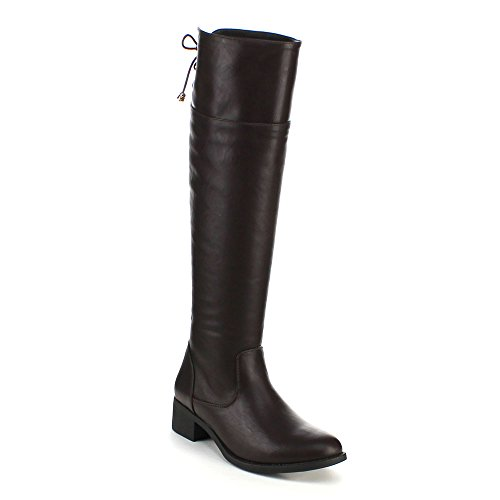 Refresh Alto-06 Women'S Studded Low Heel Side Zipper Comfort Knee High Riding Boot, Color:Brown, Size:11