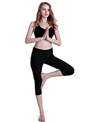 HDE Women's Lotus Series Capri Yoga Pants High Rise Cropped Fitness Active Wear