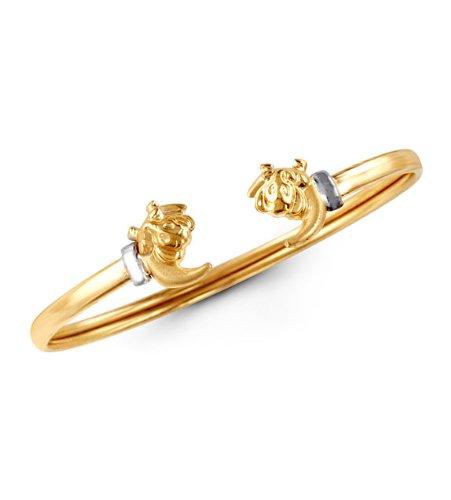 14k Yellow Gold Elephant Moon Baby Bangle Bracelet