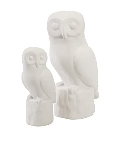 Set of 2 Ethereal White Owls