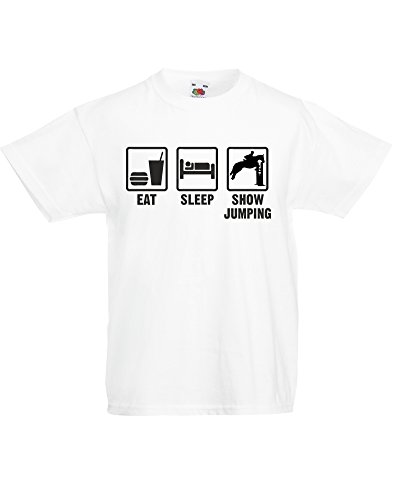 Eat Sleep Show Jumping, Kids Printed T-Shirt - White/Black 5-6 Years
