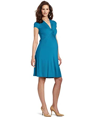 Olian Women's Maternity Jill Cap Sleeve Dress, Peacock Teal, X-Small