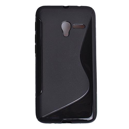 Voguecase® Per Alcatel One Touch Pop 3 5.0, Custodia Silicone Morbido Flessibile TPU S Line Custodia Case Cover Protettivo Skin Caso (S Line-nero) Con Stilo Penna