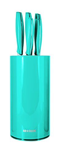 Art+Cook Ar+Cook 6 Piece Premium Knife Set with Universal Storage Block in Blue, Turquoise