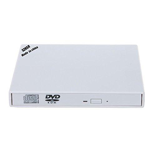 Externo portátil unidad de DVD combo Grabadora de CD-RW con USB 2.0cable para Windows 98/SE/ME/2000/XP/Vista/Win 7/Win 8PC portátil escritorio, Plug and Play, no necesita otros controlador, color blanco (CD-RW)
