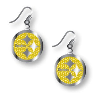 Pittsburgh Steelers Sports Gold Glitter Sparkle Dangle Charm Gift Earring Set from Aminco International