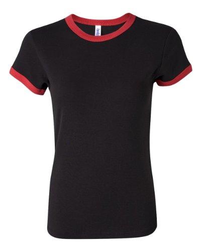 Bella Ladies Baby Rib Short Sleeve Ringer T-Shirt. 1007 - X-Large - Black / Red
