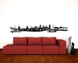 Wandtattoo Freiburg Skyline 200x33cm schwarz