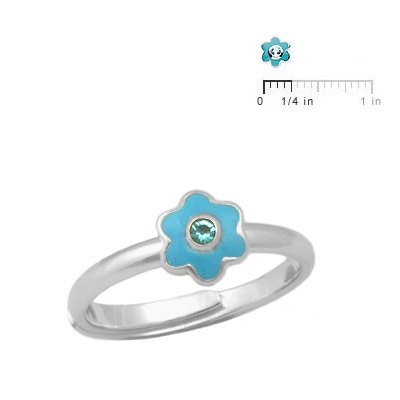 Girls Silver Enameled March Birthstone Flower