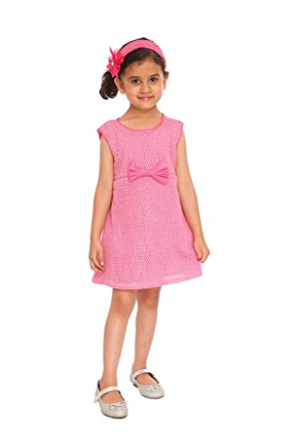 Fashion Rediscover Fashion Girl's Cotton Crochet Bow Frock(RCK-FR-06) (Multicolor)