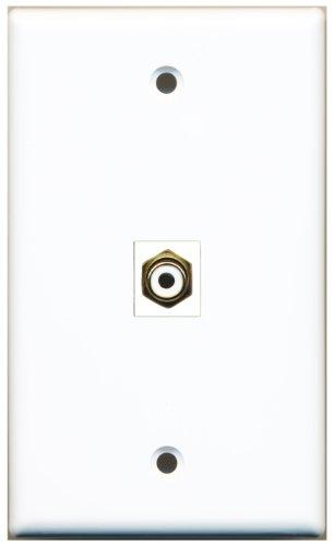 Riteav 1 Rca White For Subwoofer Wall Plate Coupler Keystone Type Jack