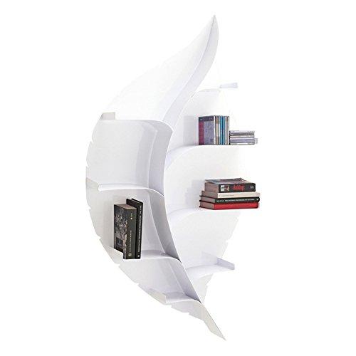 Tomasucci Foglia Libreria da Muro Foglia, Metallo, Bianco