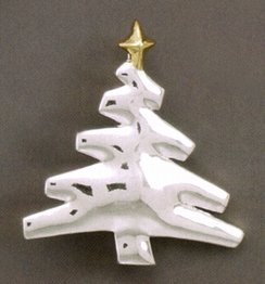 14K Gold/Silver Plated Two Tone Christmas Tree Fashion Pin/Pendant, 1-3/4 inch