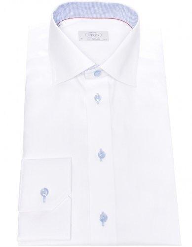 Eton Men's Shirt White Herringbone Formal UK 18