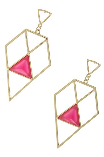 Karmas Canvas Cut Off Diamond Dangle Earrings (Fuchsia) back-1046829