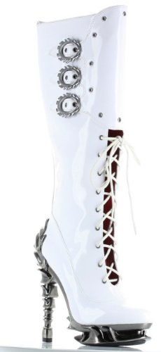 Hades White Hyperion Steampunk Knee Boots UK 6.5